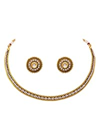 JFL - Delicate Darling Gold Designer Necklace Set With Austrian Diamonds For Women And Girls