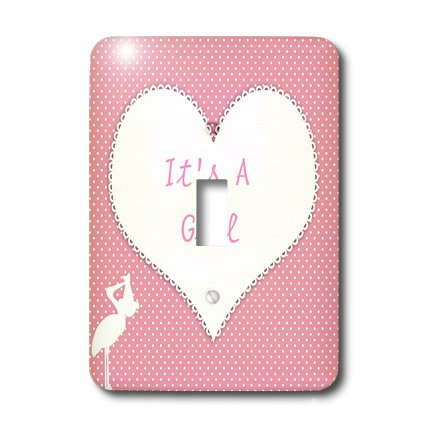 Lsp_174303_1 Florene - Special Events - Image Of Baby Girl Announcement On Heart - Light Switch Covers - Single Toggle Switch front-279158