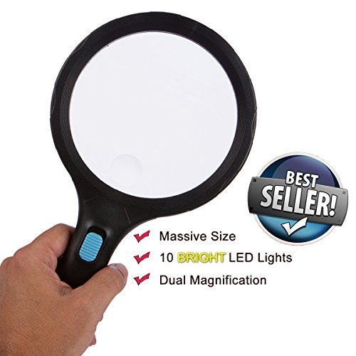 BEST Magnifying Glass with 10 LED Lights, LARGEST 5.5 INCH Glas Handheld Portable Magnification. 1.8x, 5x BONUS Credit Card Size Magnifier