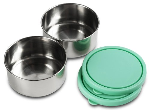 Mira Stainless Steel 2 Medium Container Set - Emerald front-6818