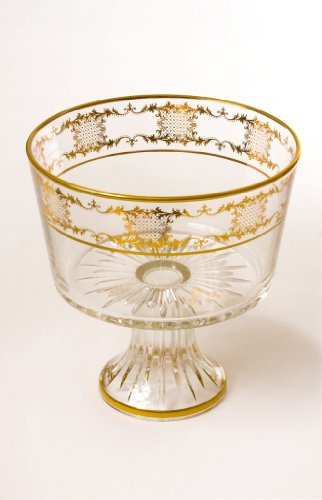 New! Italian Crystal Trifle Bowl W/painted Gold Artwork