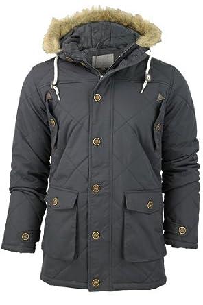 Mens Brave Soul Quilted Padded Parka Jacket/ Coat 'Cheltenham' Hoddie/ Hooded (Black) L