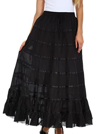 Sakkas 056R Raw Edge Tiered Ribbon Gypsy Boho Long Cotton Skirt - Black / One Size