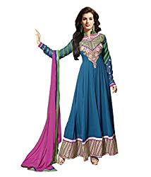 IndiWeaves Women's Blue Embroidered Chiffon Unstitched Casual wear Churidaar Dress Material