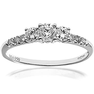 Ariel 18ct White Gold Trilogy Engagement Ring, IJ/I Certified Diamonds, Round Brilliant