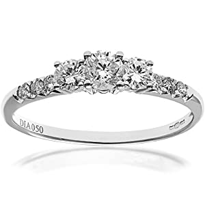 Ariel 18ct White Gold Trilogy Engagement Ring, IJ/I Certified Diamonds, Round Brilliant, 0.50ct