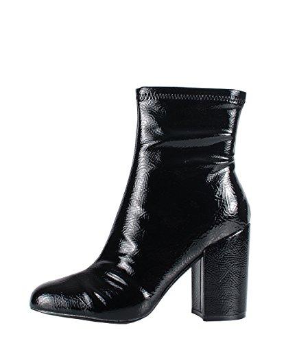 Steve Madden Goldeeee Black Patent Boots - Stivaletti Neri Pelle Verniciata