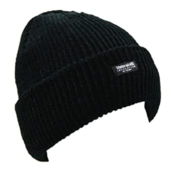 FLOSO® Ladies/Womens Thinsulate Chenille Thermal Winter/Ski Hat (3M 40g) (One Size) (Black)