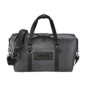 Iona Cutter & Buck Pacific Series Black Weekender Duffel 'Iona Wordmark Debossed' from CollegeFanGear
