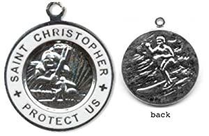 St. Christopher Surf Medal - Small Silver/ White