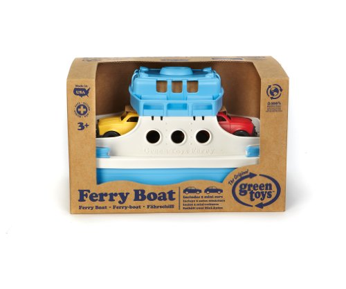 Green Toys Ferry Boat with Mini Cars Bathtub Toy, Blue/White