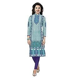 Stylish Girls Women Cotton Printed Unstitched Kurti Fabric (SG_K106_Green_Free Size)