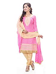 PShopee Pink & Gold Cotton Embroidery Unstitched Multistylist Dress Material