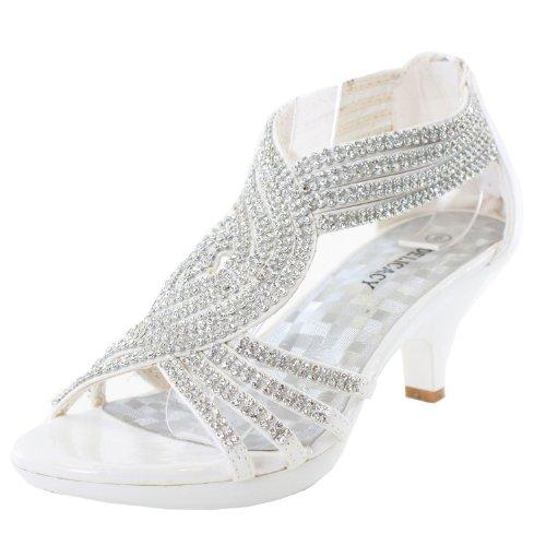Jjf Shoes Angel37 White Strappy Rhinestone Dress Sandal Low Heel Shoes-8.5