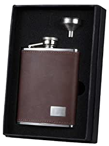 Visol VSET33-1194 Hunter Leather Flask Gift Set with Stainless Steel Funnel, 6-Ounce, Brown