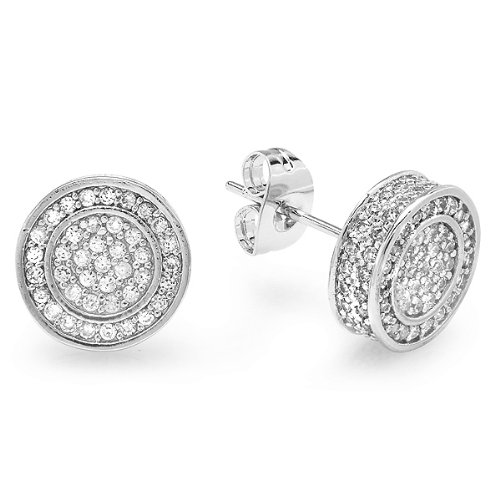 Platinum Plated With White CZ Cubic Zirconia Round Shaped Hip Hop Mens 10 mm Iced Round Stud Earrings