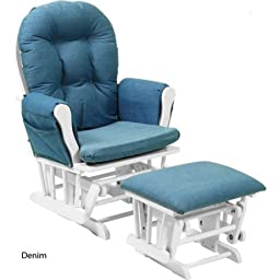 Customize - Storkcraft Glider and Ottoman /Model:06550- /Solid wood construction with a non-toxic finish /Size: One Size /Color: Denim Cushion