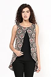 Printed Front Slit Plus Size Top