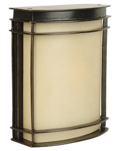 Craftmade Z4302-92 Outdoor Wall Light with Amber Frosted Glass Shades, Bronze Finish