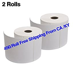 MFLABEL 2 Rolls of 450 Labels 4x6 Direct Thermal Shipping Labels for Zebra 2844 ZP-450 ZP-500 ZP-505