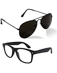 Unisex Uv Protected Combo Pack Of Aviator Sunglasses And Clear Wayfarer Sunglasses ( Black Black - Black Clear...