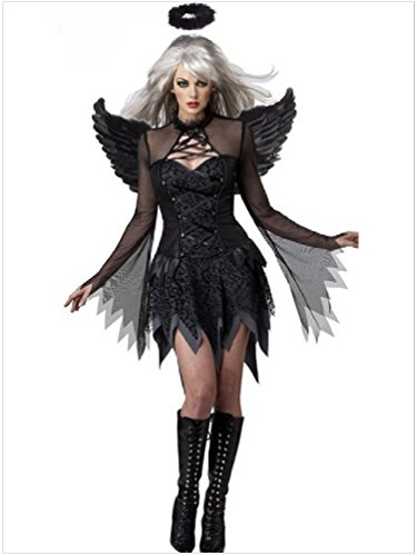 Ponce Cosplay Stylish Black Fallen Angel Adult Halloween Costumes Uniforms