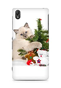 Amez designer printed 3d premium high quality back case cover for Sony Xperia Z2 (Cat With Christmas Tree)