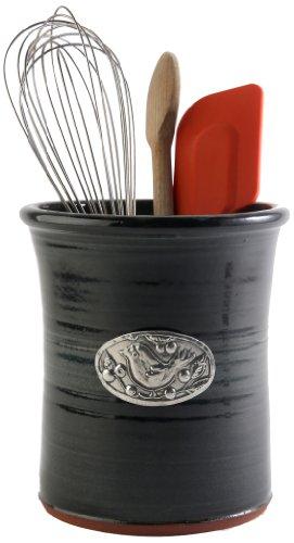 Crosby & Taylor Bird Stoneware Utensil Crock, Blackberry Glaze