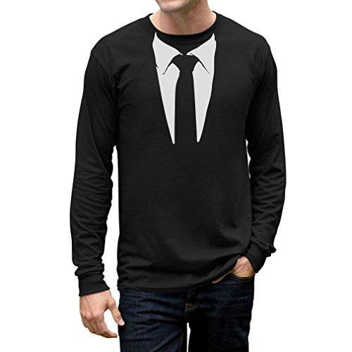 Tuxedo Tie Printed Suit Men's Long Sleeve T-Shirt Medium Black