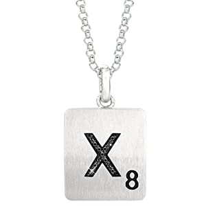 Sterling Silver .03 CTW Black Diamond Letter