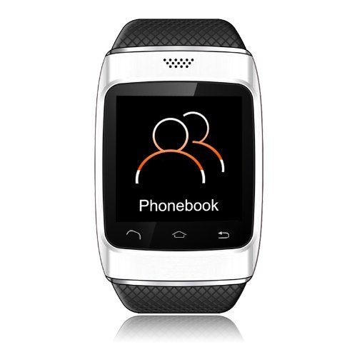 Cnpgd® S12 Smart Sync Call Sms Bluetooth Watch Pedometer/Recording/Anti-Lost For Iphone 5S,5,4S,4 Android Samsung S5,S4,S3,S2,Note 3,Note 2(Ios System Can Use Partial Function) (Silver/Black)