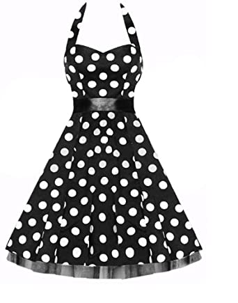 Vintage 1950's Rockabilly Style Black Bow Swing Cocktail Evening Dress - Size XXL