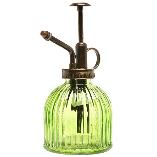MyGift® Vintage Style Green Transparent Glass Water Spray Bottle / Decorative Plant Mister with Top Pump