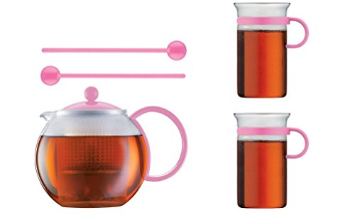 Bodum Limited Edition 70th Anniversary Assum Tea Press Set - Glass Teapot Press (34 Oz), Glass Mugs & Spoons (Pink) (Bodum Teapot Red compare prices)