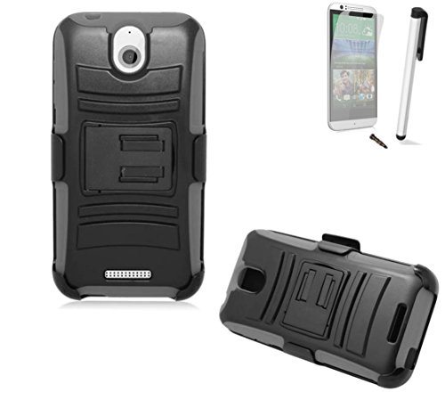 For Htc Desire 510 (Cricket Boost Mobile Sprint Virgin Mobile) Symbiosis Advanced Armor Impact Hybrid Soft Silicone Cover Hard Snap On Plastic Case Kick Stand With Belt Clip Holster + [World Acc®] Brand Lcd Screen Protector + Silver Stylus Pen + Black Dus