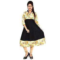 AnjuShree Choice Women's Cotton Black & White Stitched Anarkali Kurta Kurti (Large)