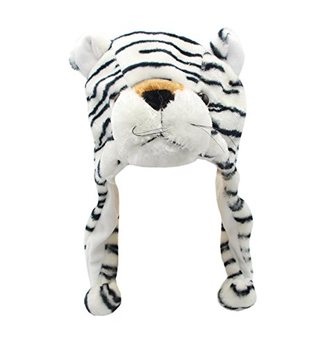 [COOLYES Kids & Adults Soft Plush Animal Hat Ear Flap Winter Beanie (White Tiger)] (White Tiger Costumes)