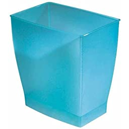 InterDesign Spa Mono Rectangle Waste Basket, BLUE, Suitable For Home Or Workplace Use