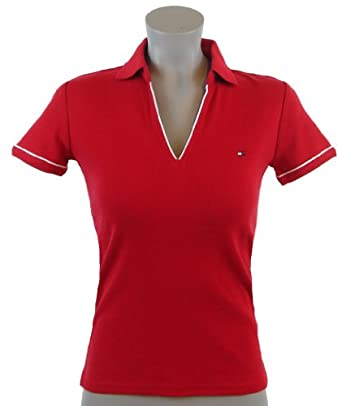 Tommy hilfiger women classic fit buttonless logo polo for Amazon logo polo shirts