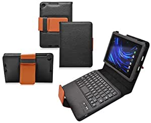 COD Bluetooth Keyboard Tablet Stand Leather Case for Google Nexus 7 FHD 2nd Generation Gen Tablet (Compatible with ASUS Google Nexus 7 FHD 2 2.0 II Tablet 2013 Version) (Black/Brown)