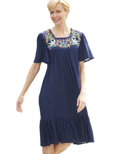 National Floral Embroidered Cotton Dress, Navy, Medium