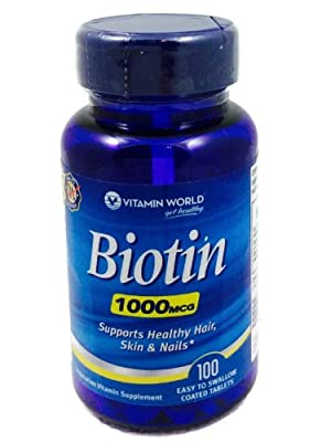 Biotin 1000 mcg, 100 Easy to Swallow Coated Tablets by Vitamin World
