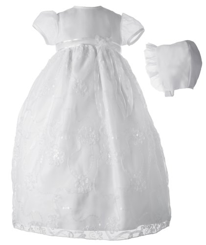 Lauren Madison baby girl Christening Baptism Special occasion Newborn Bridal Satin dress gown , White, 0-3 Months