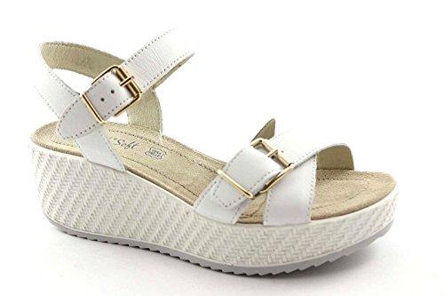 ENVAL 59833 bianco sandali donna soft plateaux cinturino pelle 37
