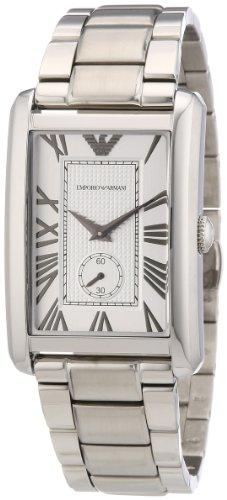 Emporio Armani AR1607 - Reloj analógico de cuarzo para hombre, correa de acero inoxidable color plateado