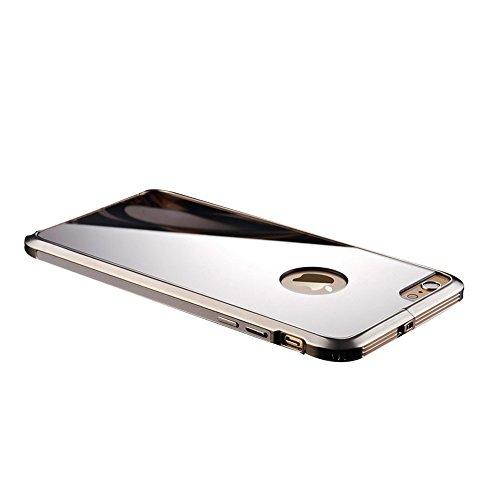 全8色 iphone6sバンパー アルミ 背面 軽量 ポップエナジー(Pop Energy)アイフォン6s plus ケース 金属 フレーム 二重構造 アルミバンパー+鏡面ミラーキラキラ光るバックプレート付き アルミ製メタルバンパー (IPhone6/6s, シルバー)