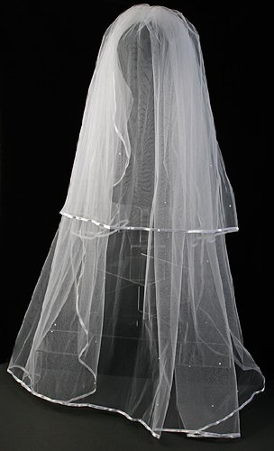 White Two Tier Bridal Veil with Satin Edges & Scattered Pearls