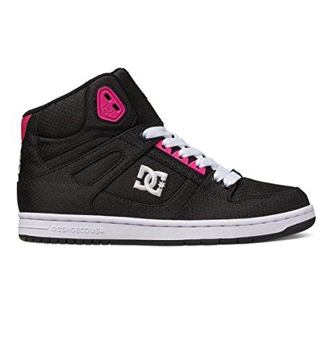 DC Women's Rebound High TX SE Skateboarding Shoe, Black/Fuchsia, 8.5 M US
