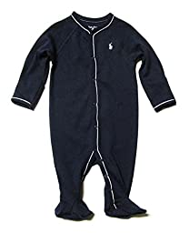 Ralph Lauren Baby Boys\' Long-sleeved Cotton Sleeper Outfit Footies Pajamas (6 Months, Navy / White Pony)
