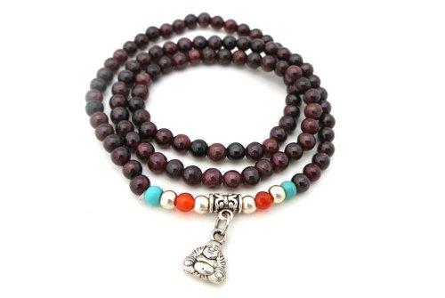 agathe creation collier ou bracelet tibetain porte bonheur pierres grenat naturelle. Black Bedroom Furniture Sets. Home Design Ideas